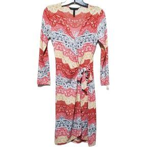 BCBG Yellow/red/white/black Print Wrap Dress S